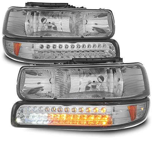 (For Smoked Smoke 99-02 Chevy Silverado Headlights Replacement + LED Bumper Signal Lights 4pcs Set)