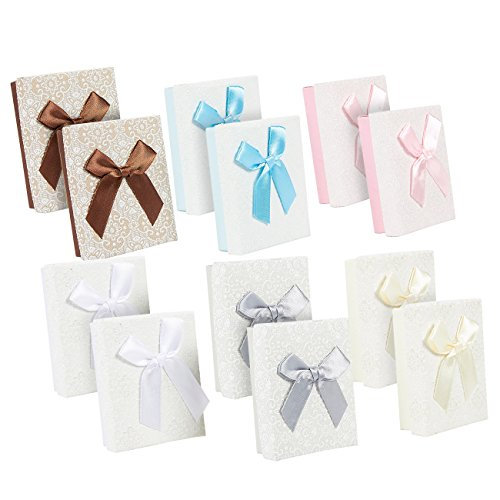 12-Piece Gift Box Set - Bow Jewelry Box for Anniversaries, Weddings, Birthday, 3.6 x 1.1 x 2.7 Inches (Jewelry Box Gift Set)