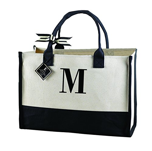 Mud Pie 501112  M-Initial Canvas Tote (Wedding Tote)