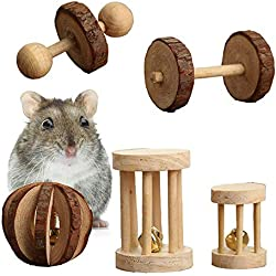 Wooden Hamster Chew Toys Teeth Care Molar Ball Exercise Playing Bell Roller Toy for Bunny Rabbits Rats Guinea Pig and Other Small Pets Pack of 5