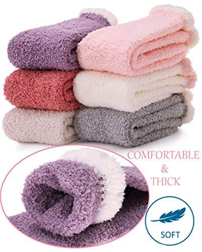 Womens Girls Fuzzy Slipper Socks Cabin Soft Fluffy Warm Cute Cozy Winter Christmas Socks (Solid Colors B (6 Pairs))