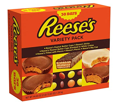 Sticks Reeses (REESE'S Chocolate Peanut Butter Candy Variety Pack, Halloween Candy, 30 Count (Limited Edition))