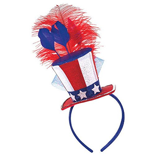 Captain Spaulding Hat (Amscan Stars & Stripes Fourth of July Feathered Headband, Multi Color, 13 x 5