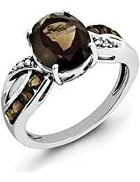 925 Sterling Silver Diamond Smoky Quartz Band Ring Gemstone Fine Jewelry Gift Set For Women Heart