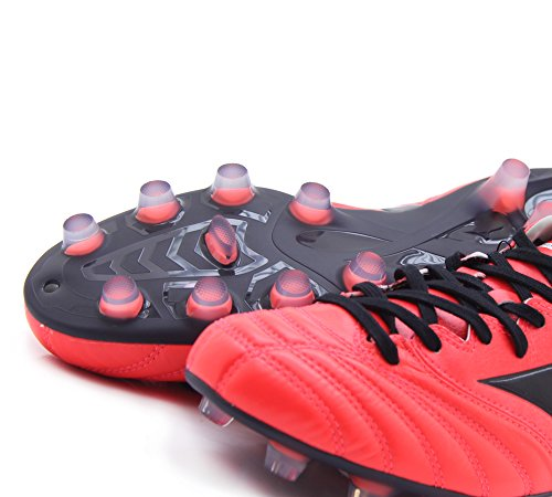 Morelia Neo K Leather MD FG Football Boots - Fiery Coral/Black - size 40.5 EU