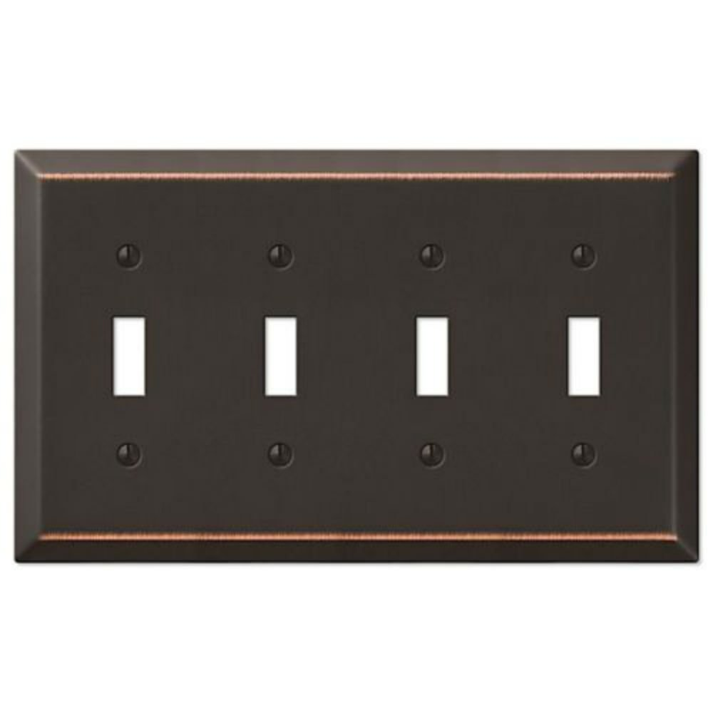 TOGGLE-QUAD Oil Rubbed Bronze Wall Switch Plate Outlet Cover