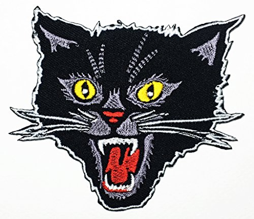 Black Screaming Cat Feral cat Animals Zoo Zombie Halloween Skull Skeleton Kid Baby Cartoon Patch Logo Jacket T-Shirt Patch DIY Applique Embroidered Sew Iron on Patch -