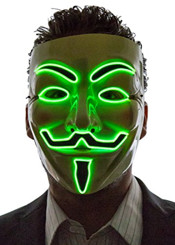 Neon Nightlife Men's Light Up V for Vendetta, Guy Fawkes Mask, One Size, Green]()
