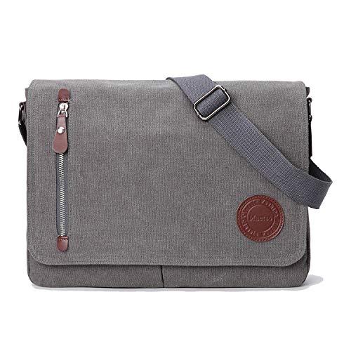 Vintage Canvas Satchel Messenger Bag for Men Women,Travel Shoulder Bag 13.5