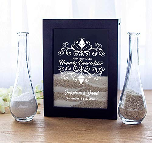 Cathys Table Decoration Concepts (Cathy's Concepts Unity Sand Ceremony Shadow Box Set, Wedding Table Decoration, Free Engraving)
