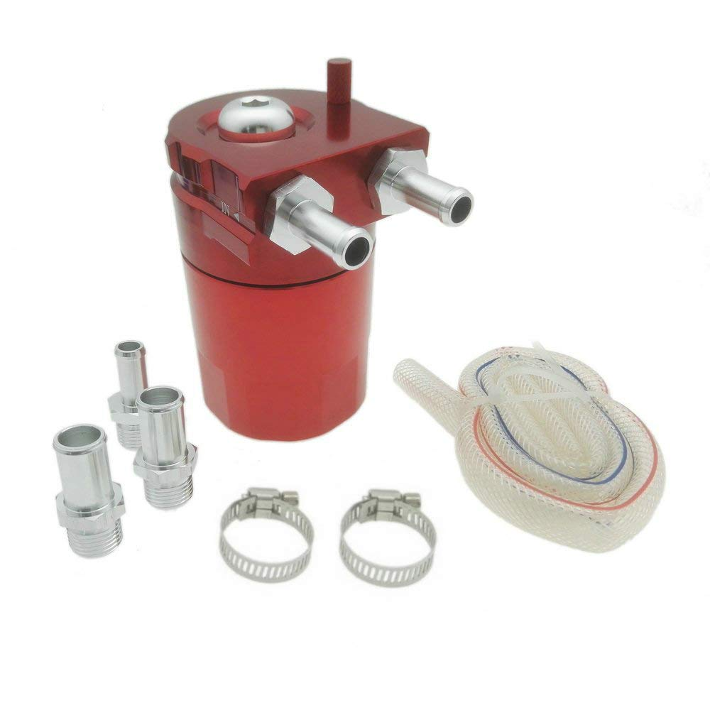 Heinmo 5 Color Universal Aluminum Alloy Cylinder Car Oil Catch Can Reservoir Tank Silver