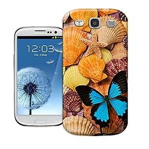 Hard Plastic Samsung Galaxy S3 Case, Fate Inn-204.Blue Butterfly and Sea Shells-Samsung Galaxy S3 case