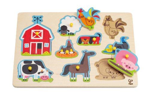 Hape Farm Animals Toddler Wooden Peg - Peg Puzzle Animals Farm
