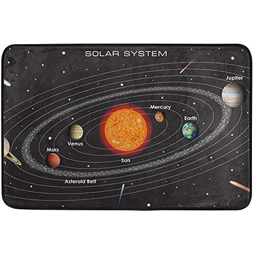 Solar System Doormat Indoor/Outdoor Washable Garden Office Door Mat,Kitchen Dining Living Hallway Bathroom Pet Entry Rugs with Non Slip Backing by Starophi