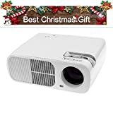 FastFox LED Video Projector 2600 Lumen 800x480 HD Home Theater for PC Laptop Smartphone USB SD Keystone White Color