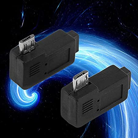 Computer Cables 2PCS 1 Pair Black 90 Degree Right Left Angle Micro 5 pin Male to Micro Female Plug Cable Adapters Plug and Play Cable Length: Other