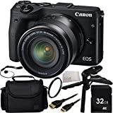 Canon EOS M3 Mirrorless Digital Camera (Body, Black) 32GB Bundle 7PC Accessory Kit. Includes 32GB Memory Card + Pistol Grip/Table Top Tripod + Mini HDMI Cable + UV Filter + Cap Keeper + Carrying Case + Microfiber Cleaning Cloth - International Version (No Warranty)