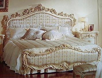 Barock Bett Doppel Bett 180x200 Schlafzimmer Antik Stil Vp7712Q Kopfteil  Stoff Nr. 285 01