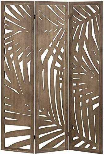 MyGift 3 Panel Tropical Palm Leaf Cutout Design Decorative Wood Room Divider