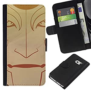 KLONGSHOP // Tirón de la caja Cartera de cuero con ranuras para tarjetas - Cara tribal - Samsung Galaxy S6 EDGE //
