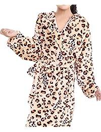 AGOWOO Little Big Kids Boys Girls Bath Robe Cool Leopard Flannel Bathrobe