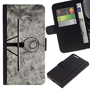 YiPhone /// Tirón de la caja Cartera de cuero con ranuras para tarjetas - B & W Canasta de baloncesto - Apple Iphone 6 PLUS 5.5