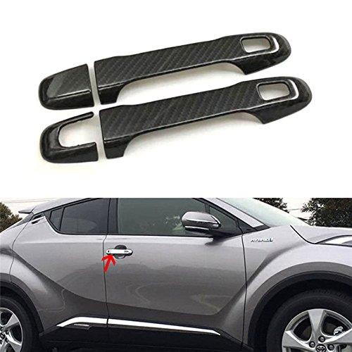 Odster 4pcs Carbon-Faser-Art-Auto-T¨¹r-Handgriff Verschlussabdeckung Trim Auto Exterior Zubeh?r Fit f¨¹r Toyota CHR CHR 2016-2018