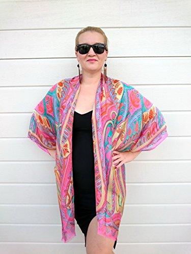 Pink Paisley Kimono Robe, Plus Size Duster Jacket, Silk Beach Cover Up ()