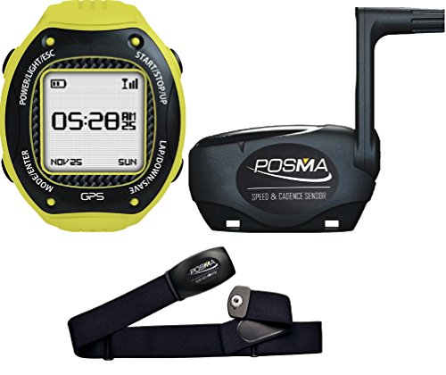 Posma/Trywin W3 GPS Running Cycling Hiking Multisport Watch Navigation ANT+ STRAVA MapMyRide/MapMyRun (BHR20 Heart Rate Monitor and BCB20 Speed/Cadence Sensor Bundle Option Available) Gray / Yellow