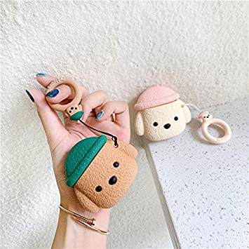 Newest Super Cute Hat Teddy Dog AirPods Case Brown Ideal Gift Soft Silicone Earphone Protection Skin for AirPods1/&2+Hook UR Sunshine AirPods Case