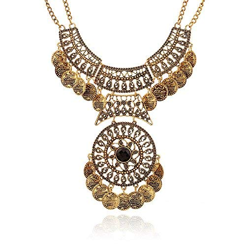 Coin Statement Necklace,Haluoo Bohemian Layered Coin Tassel Collar Necklace for Women African Boho Vintage Hollow Engraved Flower Necklace Double Coin Pendant Sweater Chain Festival Jewelry (Gold)