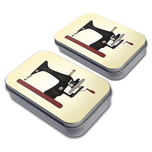 Sewing Machine Vintage Yellow Background Decorative Craft Trinket Metal Tin Box Set of 2 -