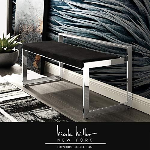 Nicole Miller Giada Bench   Velvet Upholstered  Metal Frame   Modern   Black/Chrome (Set Nicole Dining)