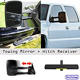 1999-2002 Chevy/GMC Silverado/Sierra Power Heated Telescoping Towing Mirror Pair with Hitch Step Combo