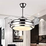 Modern Ceiling Fan with Music Light Bluetooth Speaker and Remote Ceiling Lamp Dimmable