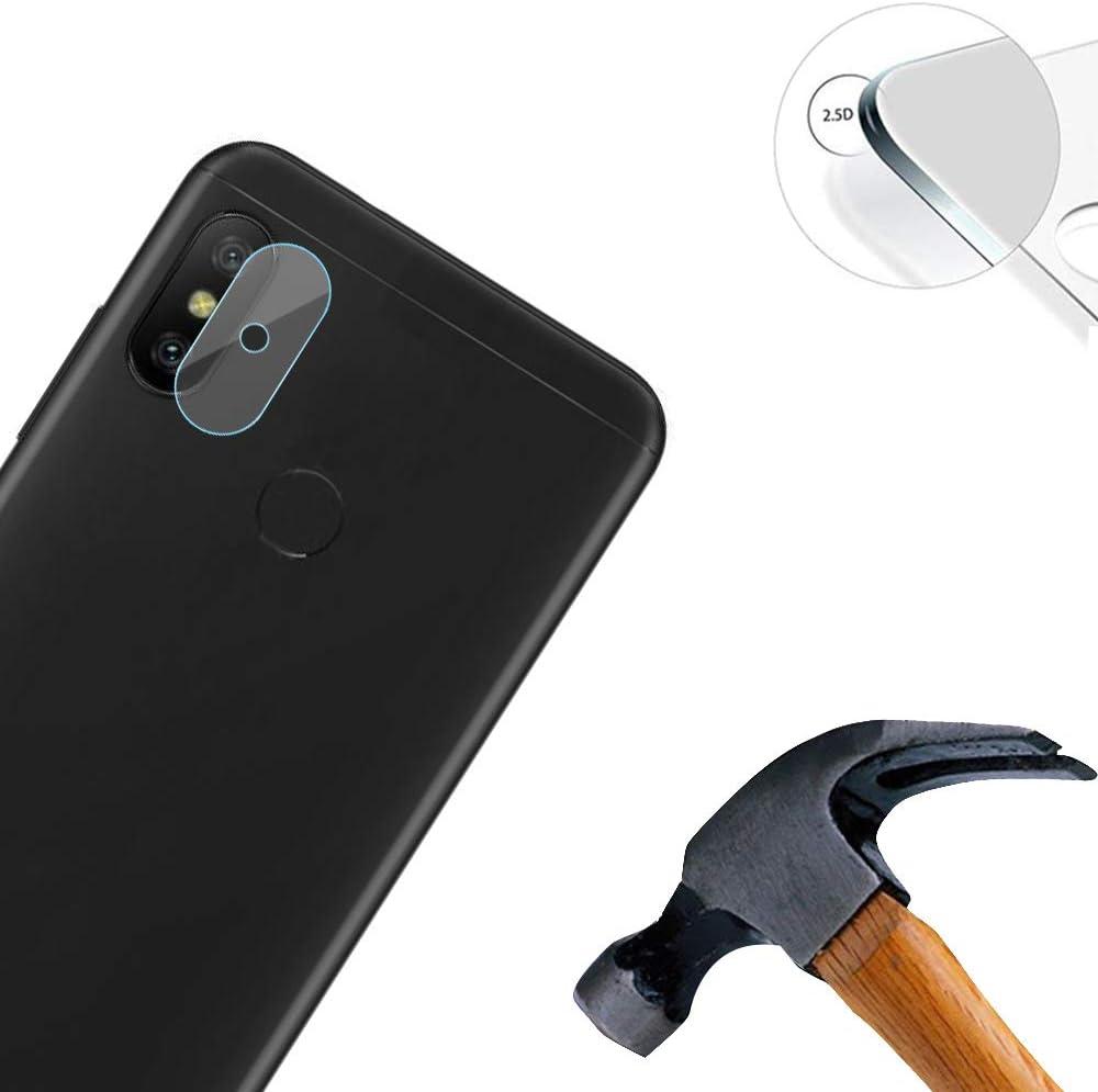 Lusee 3 Piezas Cristal Templado Lente Cámara para Xiaomi Mi A2 Lite Alta Definición Ultra Clara 2.5D Protector Cámara Trasera Lente Película de Pantalla