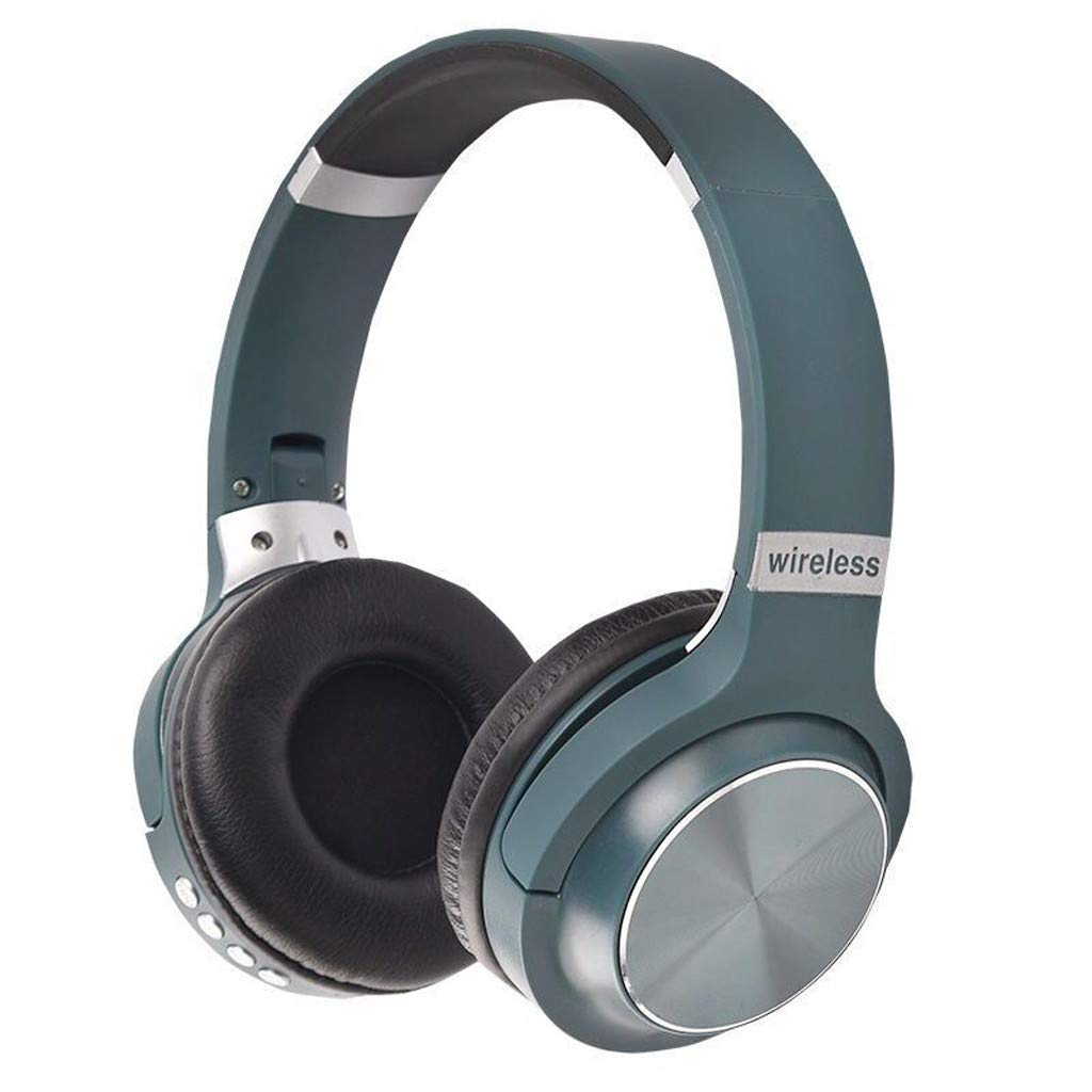 Wireless Headset, Foldable Sports Headphone OverEar Blue-Tooth 4.1,Noise Cancelling Wired Mode Built-in Mic for PC/Cell Phones/TV Headset (Green)