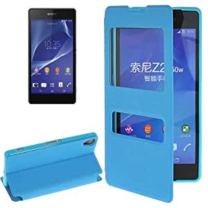 Texture Oracle PU Case Funda Flip Cover con & Caller ID Holder Window Para Sony Xperia Z2 (Blue)