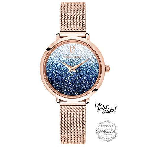 Pierre Lannier La Petite Swarovski Crystal Gradient Blue Milanese Steel Ladies Watch