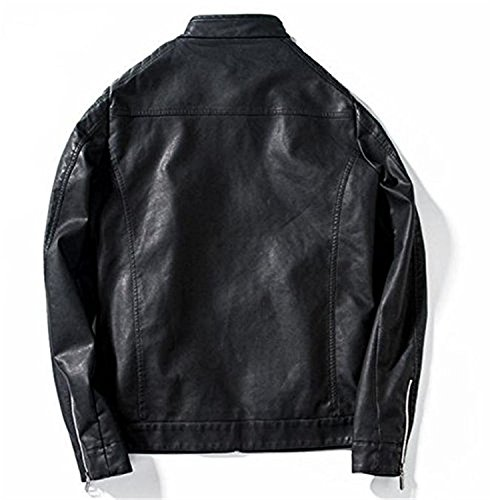 LeNG Men Casual Stand Collar Motorcycle Faux Leather Coat BlackUS (Black Collection Under Armour)
