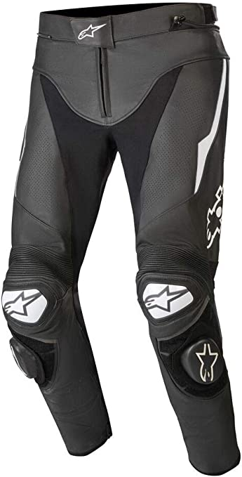 Alpinestars Track V2 Motorcycle Leather Trousers Black White 44 Auto