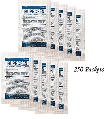250 Packets Medi-First Medique 200mg Ibuprofen Pain Reliever - 80813-500 Tablets - Replenish by Medi-First