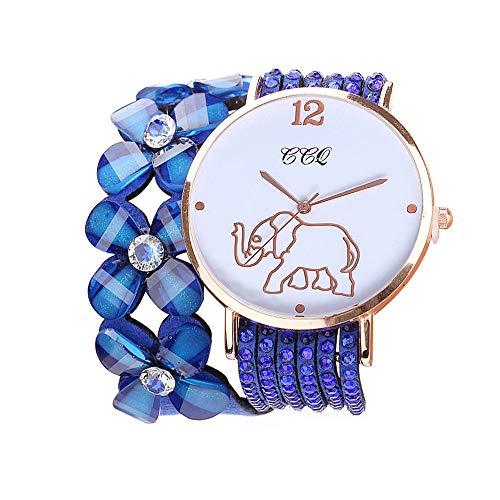 Sunyastor Rhinestone Wristwatch,Sunyator Beautiful Fashion Bracelet Elephant Pattern Watch Ladies Watch Round Bracelet Watch Blue