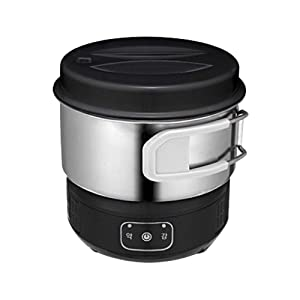 "Magic Chef MER - IR600B Electric Mini Induction Multi Cooker Hot Pot Portable Outdoor Camping Stainless Steel Electric Travel Cooker 110V 220V Dual Voltage Black 6"" 2.64 Ib"