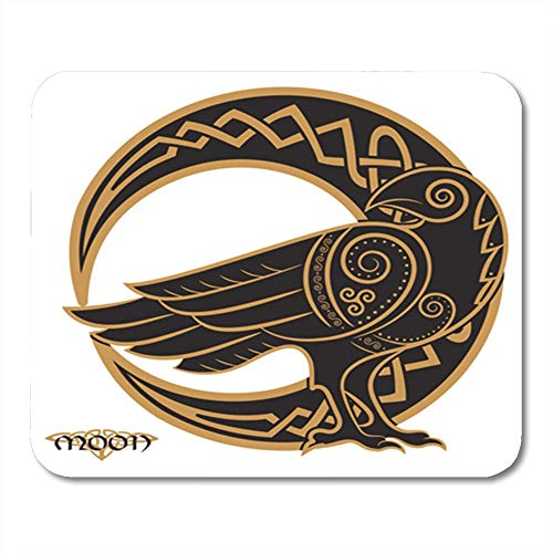 HZMJPAD Odin Raven in Celtic Style on The of Moon White Mandala Pagan Halloween Bird 8.6 X 7.1 in Decor Office Computer Accessories Nonslip Rubber Backing Mouse pad Mouse Mat -