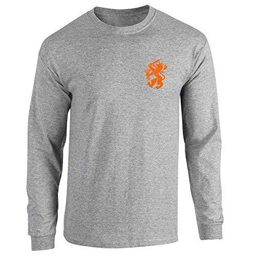 (Dutch Soccer Retro National Team Holland Sport Grey M Long Sleeve T-Shirt)