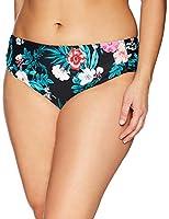 Coastal Blue Women's Plus Size Swimwear Tab Hipster Bikini Bottom, Jaded/Ebony Floral Print, 2X (20W-22W)