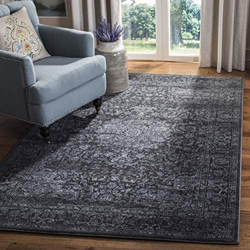 Safavieh Carnegie Collection CNG631P Vintage Dark Grey and Cream Distressed Area Rug 9 x 12