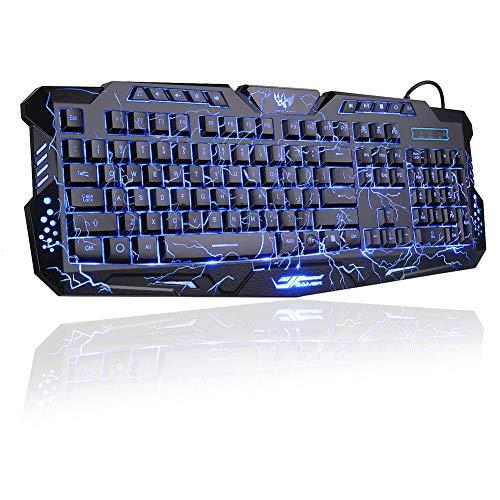 BlueFinger LED Gaming Keyboard,Mechanical Feeling USB Wired Computer Keyboard,114 Keys Letters Glow,3 Color Blue Red Purple Led Backlit Keyboard for Laptop PC Computer Game Work