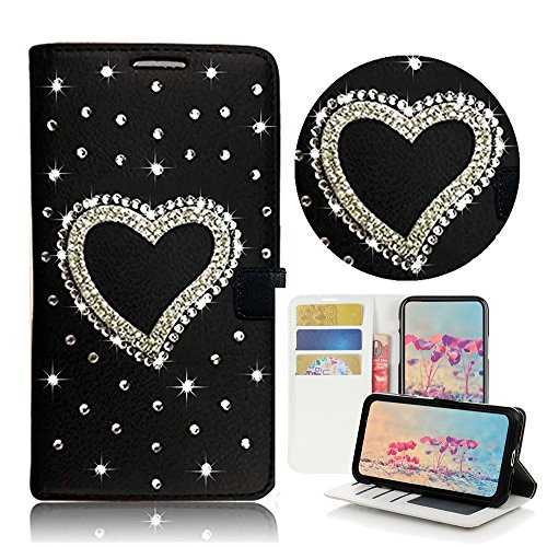 STENES Samsung Galaxy S8 Active Case - STYLISH - 3D Handmade Bling Crystal Heart Desgin Wallet Credit Card Slots Fold Media Stand Leather Cover Case - Black